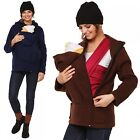 Happy Mama. Women's Maternity Fleece Hoodie Duo Top Carrier Baby Holder. 031p