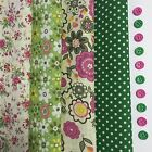 4 Large Pink Green Themed 100% COTTON Squares 20cm Approx + 10 Buttons #NB166
