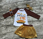 Girls Thanksgiving I'm Just Here For The Pie Sequin Skirt Set Necklace Bow 12m-7