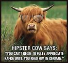 Funny HIPSTER COW Kafka comedy pretentious animal LADIES T SHIRT womens