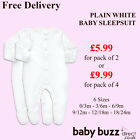 Baby Sleepsuit Babygrow plain white full sleeve - Sizes 0-18 months