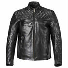 Triumph Custom Quilted Men's Leather Motorcycle Jacket Black Suede MLHS16504 $450.0 USD