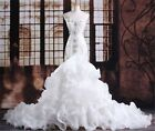 New White/ivory Mermaid Wedding Dress Bridal Gown Custom Size 6-8-10-12-14-16++