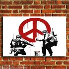 BANKSY PEACE SIGN SOLDIERS GRAFITTI CANVAS WALL ART PRINT PICTURE S MEDIUM LARGE