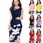 Women's Floral Patchwork Bodycon Formal Evening Party Cocktail Pencil MIDI Dress
