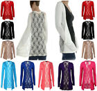 New Ladies Lace Back Cardigan Open Pocket Boyfriend Long Sleeve