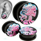 Pink Candy Skull Girl  Anodized Black Steel Body Screw On Plug Sold Pair - GLK1 image