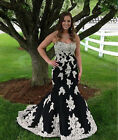 New Applique Lace Black Mermaid Wdding Dress Bridal Gown Custom Size 2-16 M6