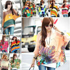 Women Chiffon Dolman Bohe Batwing Sleeve Blouse Beach T-Shirt Loose Shirt Tops L