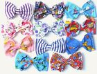CUTE DITSY FLORAL ANIMAL STRIPE FABRIC HANDMADE CHILDS 5in HAIR DOUBLE BOW CLIP