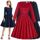 1950s 60s Retro Vintage Pinup Swing Dress Casual Solid Cocktail Party Dresses
