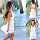 Ladies Summer Lace Sleeveless Casual Evening Party Cocktail Short Mini Dress NEW