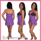 Purple Babydoll Set with Black Lace and Briefs Size  8 - 22
