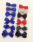 6 Girls Kids Small Hair Bows Clips Set Grosgrain Ribbon - School Uniform Colours