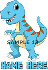 CUTE DINOSAUR IRON ON TRANSFER PERSONALISED FREE Ref - 04-13a