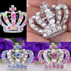 #P631D Costume Tiara Crown High Quality Pin Brooch Crystal Women Party Everyday