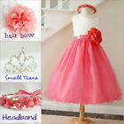 Lovely Ivory coral orange wedding tulle flower girl party dress all sizes