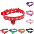 Unisex Dog Collar Bling Crystal With Small Bell Necklace Leather Pet Puppy Cat