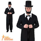 Adult Abe Lincoln Costume Mens US President Historical Fancy Dress Outfit New