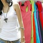 New Women's RacerBack Tank Top Sleeveless Cotton T-Shirt Lady Cami Singlet Vests