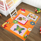 Teppich Kinderzimmer Marienkäfer Schmetterling Biene Kinderteppich in Orange