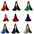 Velvet  Hooded Cloak Halloween Gothic Wicca Robe Medieval Witchcraft Larp Cape