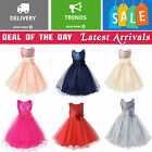 Girls Sequinned Dress Flower Princess Sleeveless Formal Party Wedding Bridesmaid