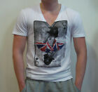 RELIGION V-Neck Printed T-shirt in White[Now:£25]