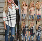 UK Women Striped Plaid V Neck Long Sleeve Ladies Casual T-Shirt Tops Blouse 6-20