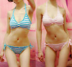2pcs Sexy Girl Anime Lace Stripe Cosplay Bikini Intimates Underwear Suits 4color