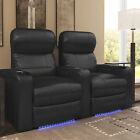 Turbo Recline Leather 2-Row Theater Seating with Accessory Dock and Removable