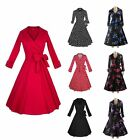 1950s 1960s Vintage Retro Rockabilly Lapel Collar Pinup Swing Dress Three Style
