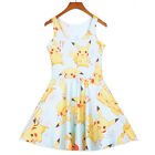 Cartoon Lovely Women Girls Pokemon Pikachu Summer Sleeveless Pleated dress 2016