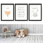SET of 3 WATERCOLOUR ANIMALS Wall Art Children Nursery Picture Prints Decor