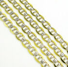 """4.2mm 20-36"""" 10K Two Tone Gold Diamond Cut Mariner Anchor Cuban Chain Necklace"""