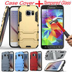 Hybrid Armor Case Cover +Tempered Glass Film Screen Protector For Samsung Galaxy