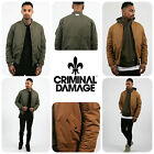 Mens Designer Criminal Damage Varsity MA1 Bomber Jacket Coat Winter Military