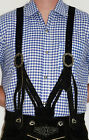 BLACK SUSPENDERS LEATHER German Lederhosen Shorts Pants Oktoberfest BRAIDED