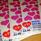"""91 x 1"""" LOVE HEART VINYL STICKERS - FOR HOME & GIFT DECORATION"""