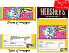 20 Personalized SHOPKINS Full-Size Hershey Candy Bar Wrappers Pre-Cut w/Foil