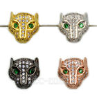 Zircon Micro Pave Leopard Head 11x11mm Connector Charm Spacer Beads Bracelet
