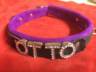 "Suede leather dog collar 1"" wide collar - Custom Any Word! (locking option)"
