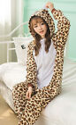 Flannel Leopard Bear Pajamas Winter Thick Loungewear Adult Sleepwear Cosplay