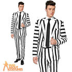 Adult Striped Black and White Suitmeister Suit Halloween Horror Mens Fancy Dress