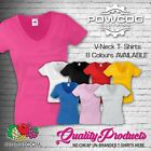 FRUIT OF THE LOOM LADIES Plain Lady Fit V-Neck T-Shirts Tee T Shirt