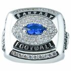 Fantasy Football Championship Trophy Ring Rhodium Plate & CZ Silver Color