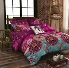 4Pcs 3D Brushed Bohemia Printed Duvet / Quilt Cover Bedding Pillow Case Set Kit