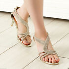 Womens metallic gold thongs ankle brace kitten heels cocktail zip sandals shoes