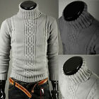 2 Colors Mens Knitted Roll High Turtle Polo Neck Sweater Fashion Jumpers M -4XL