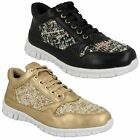 LADIES SIZE TRAINERS BLACK GOLD WEAVE SPARKLY LACE UP TRAINER SHOES WAVES F80101